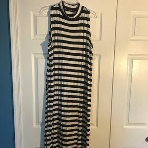 Simply Be stripe maxi tank dress black & white